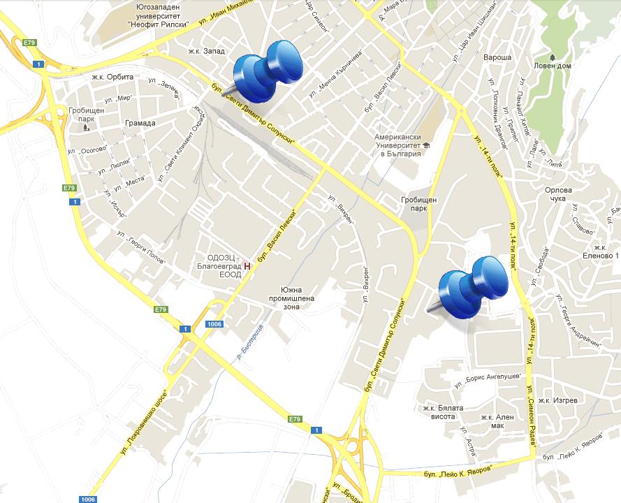 Карта обекти Благоевград